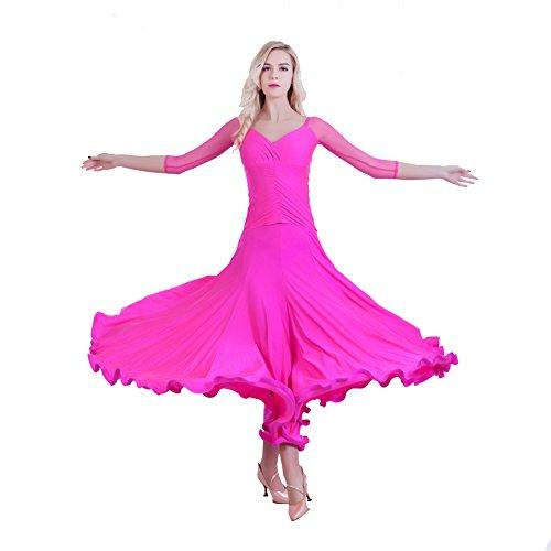 NAKOKOU-Womens-Ballroom-Dance-Competition-Dresses-Modern-Waltz-Standard-Ballroom-Dancing-Clothes-Long-SleeveRose-RedL