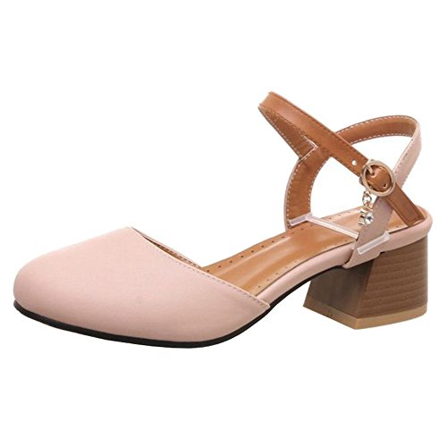 SJJH Casual Sandals with Rounded Toe and Open Heel Comfortable Shoes with 4-Colors Pink