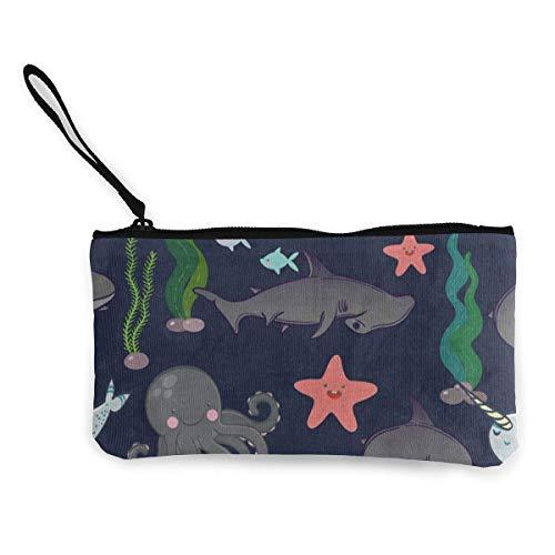 Canvas Coin Purse Cute Shark Fish Octopus Jellyfish Coral Reef Customs Zipper Pouch Wallet For Cash Bank Car Passport ()