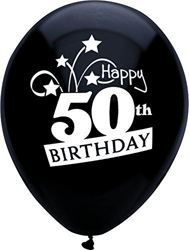 (PartyMate 24653 Happy 50th Birthday Shooting Stars Printed 12-Inch Latex Balloons, 8-Count, Pitch Black )