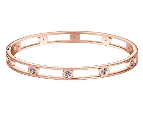 Gold Elegant Bracelets - Allen&Danmi AD Jewelry Rose Gold/Gold/White Gold Bangle Bracelet Elegant CZ Stone Stanless Steel Hollow Out for Women Mother's Day (Hollow Out Rose Gold, Gold-Plated-Stainless-Steel)