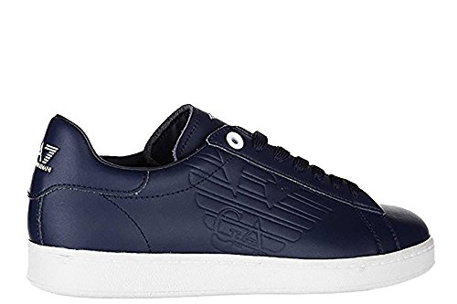 Emporio in classic nuove pelle Blue sneakers scarpe blu uomo Armani EA7 Cxrq7ZC