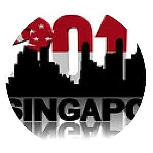 alfombrilla de ratón Horizonte de Singapur con la ilustración del texto de 2014 de la bandera - ronda - 20cm