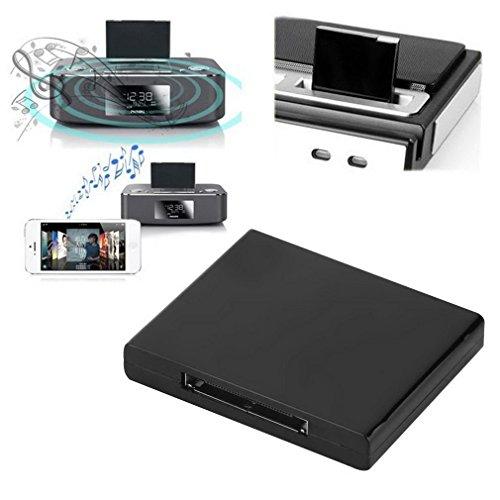 Adaptador blanco y negro del receptor de la música de Bluetooth v2.0 A2DP para iPod para el iPhone 30 Pin Dock Docking...