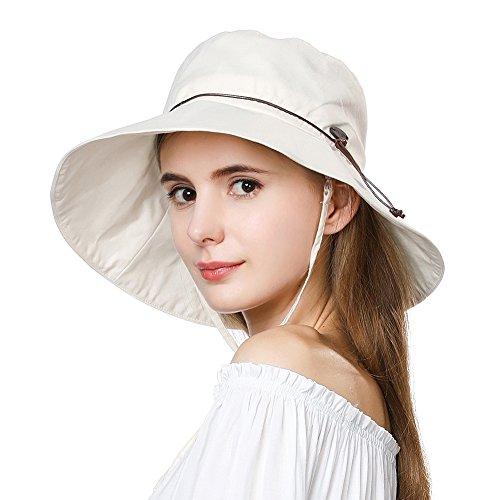 Cotton Chin Cord (Summer Hat for Women Wide Brim Sun Protection Foldable Beach Safari Hat UPF XL Big Beige SiggiHat)