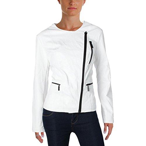 Alfani Womens Faux Leather Asymmetric Zipper Moto Coat White L (Coat Alfani)