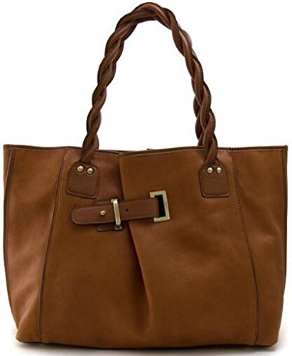 Lush Leather Lambskin Belted Braided Handle Shoulder Cognac Brown Tote