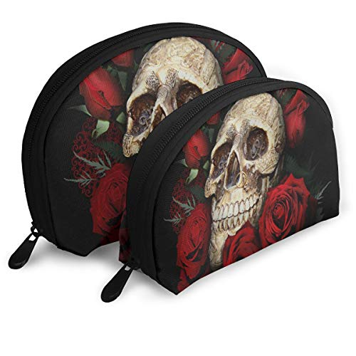 Makeup Bag Skull And Roses Portable Shell Storage Bag For Girlfriend Halloween Gift 2 Pack