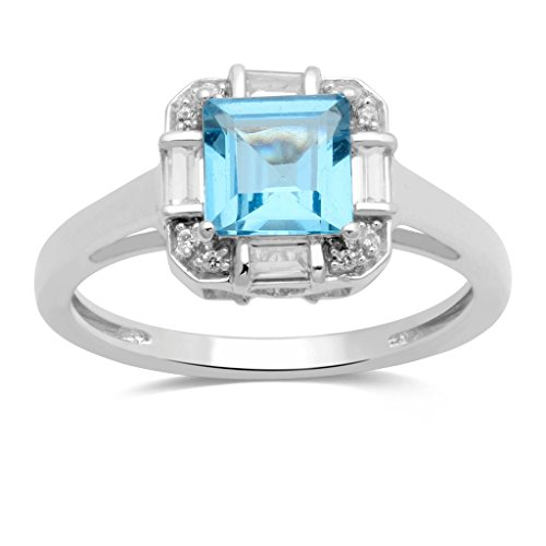 Jewelili Sterling Silver 6mm Square Swiss Blue Topaz and Created White Sapphire Halo Ring, Size 7