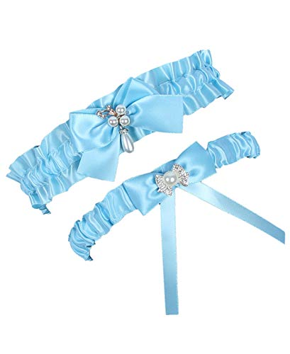 MerryJuly Throw Away and Keep One Satin Wedding Bridal Garter Belt Set with Pearls (Light ()