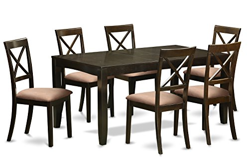 Cappuccino Finish Dining Table - East West Furniture LYBO7-CAP-C 7-Piece Dining Table Set, Cappuccino Finish