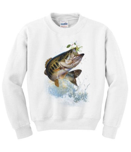 Express Yourself Fish and Hook Largemouth Bass Crew Neck Sweatshirt (White - Large)