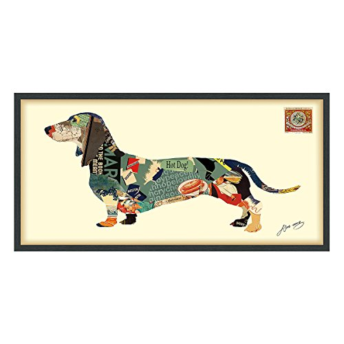 Empire Art Direct Dachshund Dimensional Art Collage Hand Signed by Alex Zeng Framed Graphic Wall (Dachshund Wall)