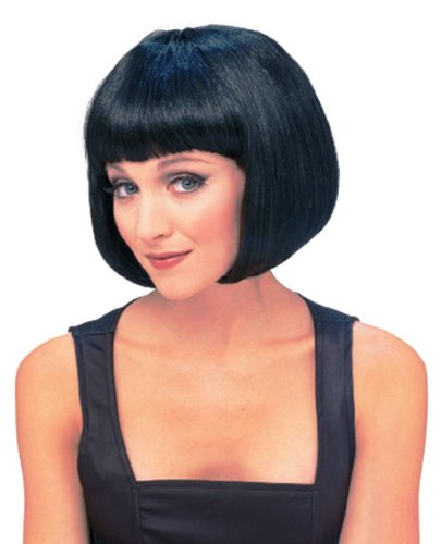 [Rubie's Costume Women's Black Super Model Wig, Black, One Size] (Black Bob Wig With Bangs)