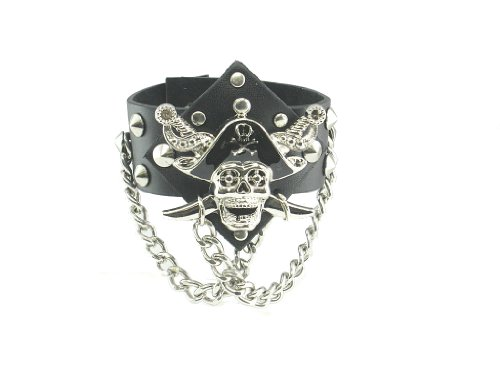 Pirate Skull Ghost Black Leather Heavily Metal Style Wristband Bracelet (Pirate Skull Wristbands)