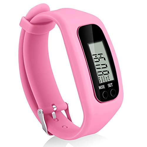 Bomxy Fitness Tracker Watch, Simply Operation Walking Running Pedometer with Calorie Burning and Steps Counting (Pink)