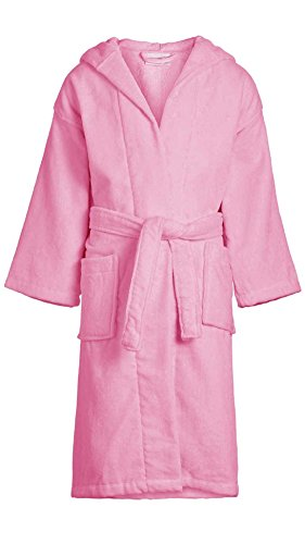 Velour Hooded Bathrobe for Boys Girls 100% Cotton Velour Kid's Robe Wholesale 6 Pcs Pink Large by TowelRobes