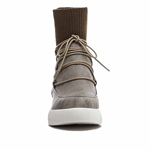 AgooLar Damen Hoher Absatz Rein Rund Zehe Blend-Materialien Ziehen auf Stiefel, Schwarz, 32