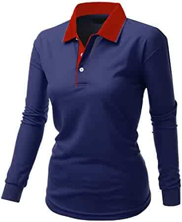 37f549fa349 Xpril Women s Basic Luxurious coolon Polo Collar Long seleeve T-Shirt