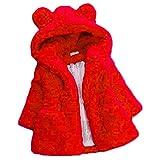 Aiweijia Abrigo de algodón para niñas, niños de piel sintética abrigo de solapa de lana abrigo de invierno cálido chaqueta para niñas