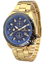 Fake Two Laps Calendar Stainless Steel Quartz Watch for Men Gold+Blue