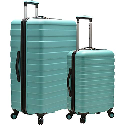 (U.S. Traveler Cypress Colorful 2-Piece Small and Large Hardside Spinner Luggage Set, Mint)