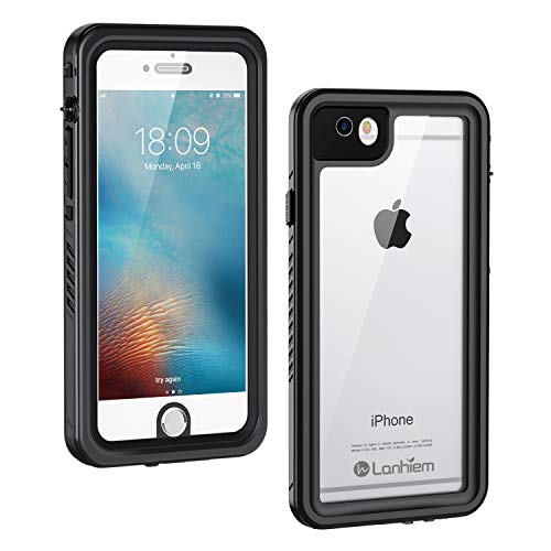 Lanhiem iPhone 6 / 6s Case, IP68 Waterproof Dustproof Shockproof Case with Built-in Screen Protector, Full Body Sealed Underwater Protective Cover for iPhone 6 and iPhone 6s (Black) (Waterproof Case For Iphone 6)