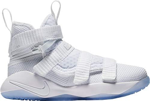 f3c273d4c852f NIKE Kid s Preschool Lebron Soldier XI Flyease Basketball Shoes Breathable  Rear Zipper Sneakers ( White Volt  11K)