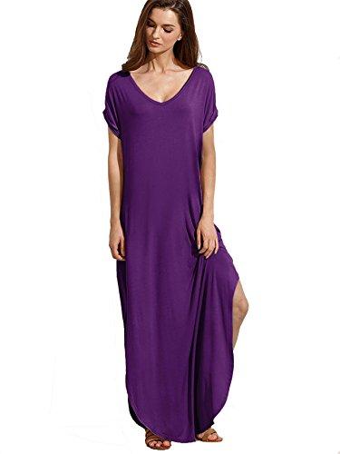 Verdusa Women's V Neck Side Pockets Split Hem Beach Long Maxi Dress Purple XL