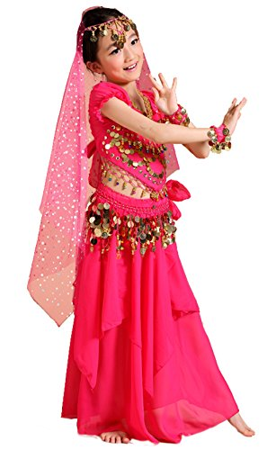 Astage Girls Princess Costume Halloween Dance Sets Hotpink L 11 to 13 Years
