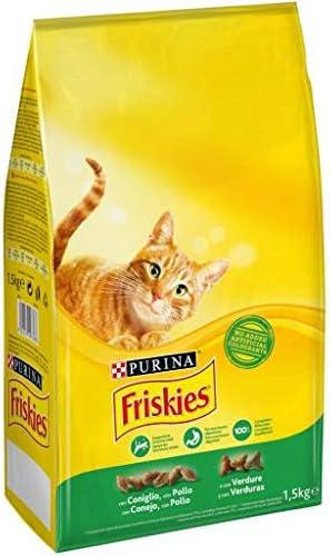 Purina Friskies Pienso para Gato Adulto Conejo, Pollo y Verduras 1,5 Kg: Amazon.es: Productos para mascotas
