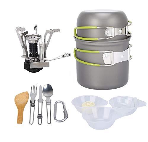 hOurDoor Tragbare Camping Kochgeschirr-Set, Outdoor Cooking Set, Backpacking Kochen Picknick Bowl Pot Pan-Set für 1 bis…