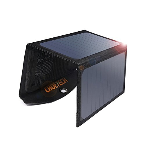 CHOETECH Solar Charger, 19W Solar Panel Charger with Dual USB Port Waterproof Foldable Compatible with iPhone X, 8/Plus, iPad Air 2 Mini 3, Galaxy S9 S9 Plus Note 8 S8, Outdoor, Camping and Travel