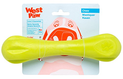 West Paw Zogoflex Hurley Durable Dog Bone Chew Toy for Aggressive Chewers, 100% Guaranteed Tough, It Floats!, Made in USA, Large, Granny Smith