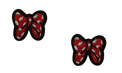 2 small pieces Polka Dot BOW Iron On Patch Applique Ribbon Motif Fabric Decal 1 x 1 inches (2.5 x 2.5 cm)