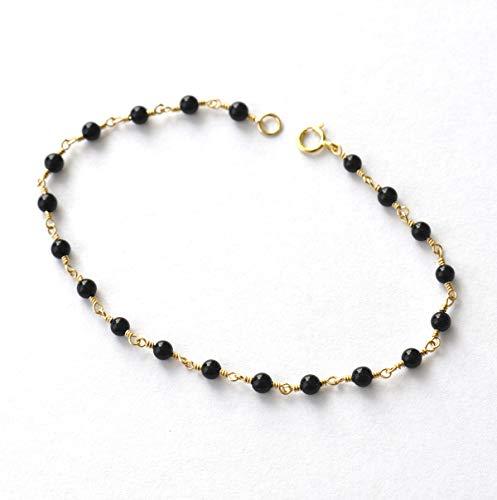 (14K Gold. Black Onyx Bracelet in 14KYG, Delicate Gold Bracelet, Black stone bracelet, Holiday Gift for Her, Black Onyx beaded bracelet)