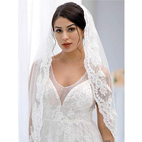 (Yean Bride Wedding Veil Ivory Bridal Hair Accessories Waist Veil with Lace Edge and Comb Attached 1 Tier 35 Inches)