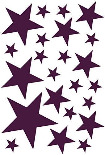 Samunshi® Wandtattoo Sterne Set 'gefüllt' 14x2,5cm6x5cm2x7,5cm1x10cm aubergine