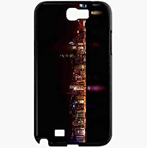 Unique Design Fashion Protective Back Cover For Samsung Galaxy Note 2 Case Hong Kong Skyline Cities Black
