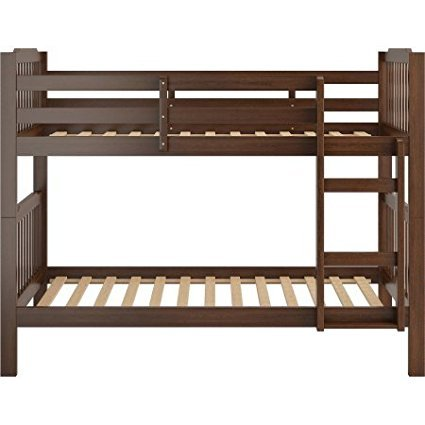 Wooden Bunk Bed, Multiple Finishes, Home Furniture Children Bedroom Kids Room Ladder Separate Comfortable Functional Safety Guard Rail + Expert Guide ''Happiness, Health and Better Life'' (Espresso)