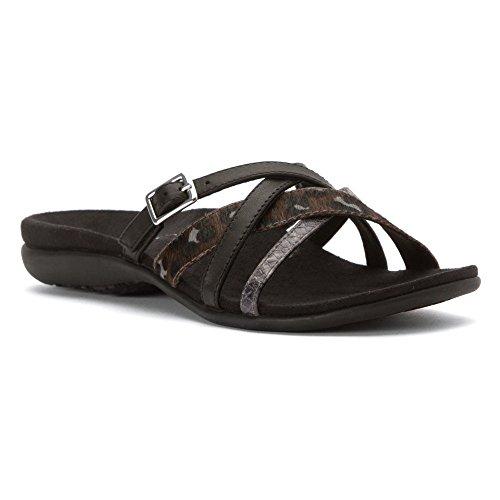 Vionic Selena Rhodes - Zapatos mujer Zapato abierto / Chanclas de dedo, Negro, cuero, altura de tacón: 15 mm