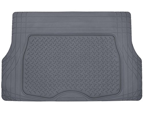 Motor Trend Heavy Duty Rubber Cargo Mat Trunk Liner for Car SUV Auto (Gray) - Odorless All Weather ()