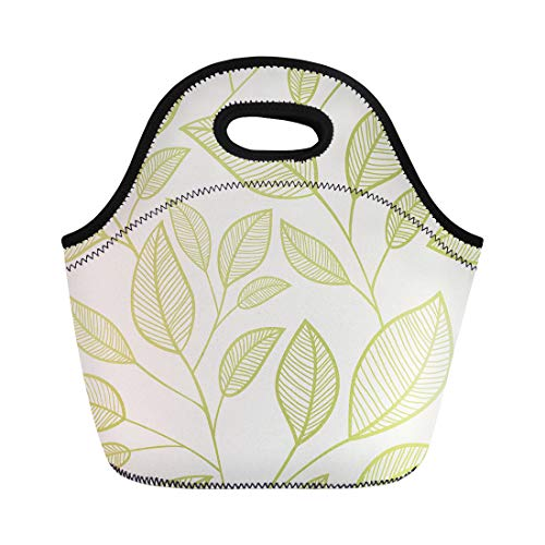 Semtomn Neoprene Lunch Tote Bag Green Geometric Leaves Summer Branch Collection Continuity Drawing Ellipse Reusable Cooler Bags Insulated Thermal Picnic Handbag for Travel,School,Outdoors,Work (Ellipse Collection)