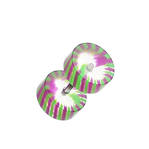UV Acrylic Fake Plugs (Sold as 1 Pair) (Green/Purple) (Style Stainless Steel Pinwheel)