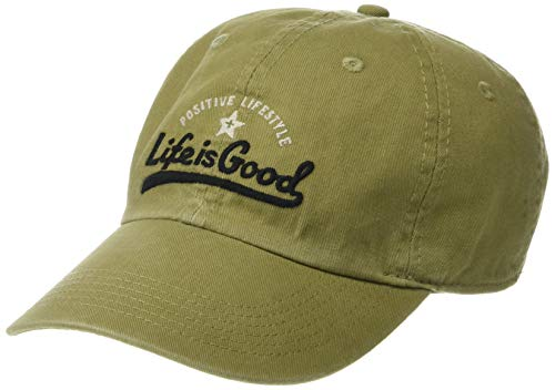 Life is Good Chill Cap Baseball Hat Collection,Ballyard,Fatigue Green