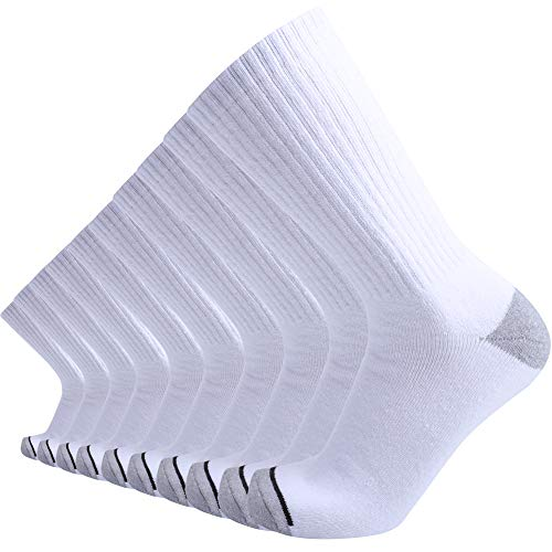 (Enerwear 10P Pack Men's Cotton Moisture Wicking Extra Heavy Cushion Crew Socks (10-13/shoe size 6-12, White))
