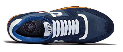OPP Men's Fashion Lights Leather Sports Sneaker Lace-up Rubber Soft Sole Casual Shoes Blue cheap sale deals cheap sale for sale b2KUUqe9