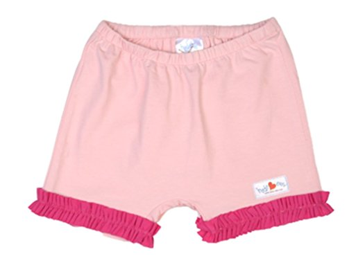 Hide-ees Girls Ruffle Bike Shorts Playground Underwear (Light Pink w/Hot Pink Ruffle, 10-12 - Hot Ruffle Panty Short