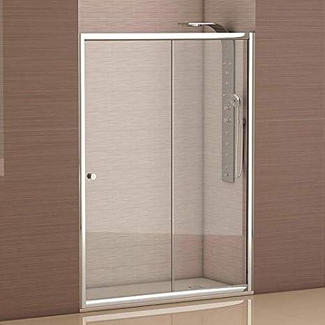 Mampara de ducha frontal 1 hoja fija + 1 hoja corredera con cristal transparente templado de seguridad de 4mm modelo Bricodomo Catalonia ANCHO 130 (Adaptable 128 a 130cm): Amazon.es: Bricolaje y herramientas