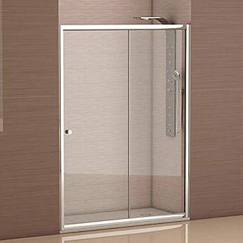 Mampara de ducha frontal 1 hoja fija + 1 hoja corredera con cristal transparente templado de seguridad de 4mm modelo Bricodomo Catalonia ANCHO 160 (Adaptable 158 a 160cm)